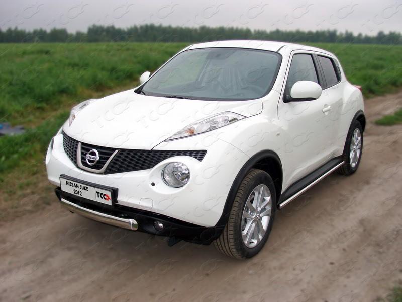 Защита передняя нижняя 75х42 мм для Ниссан Джук (Nissan Juke 2010-2014)
