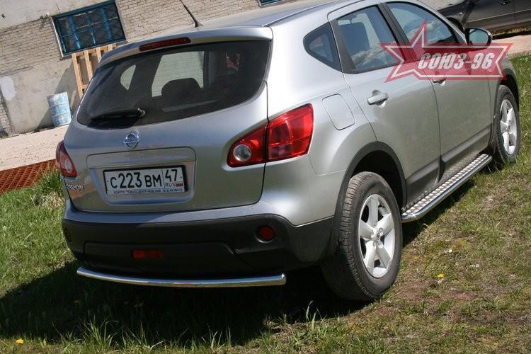 Защита заднего бампера d 60 Ниссан Кашкай (Nissan Qashqai J10) (2007-2014)