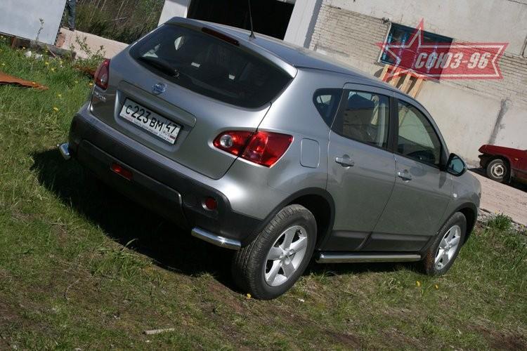 """Защита заднего бампера """"уголки"""" d 60 (компл 2шт.) Ниссан Кашкай (Nissan Qashqai 2007-2014)"""
